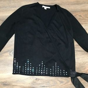 Tommy Hilfiger Black Wrap Sweater with Sequins